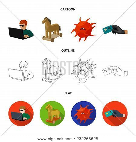 Hacker, Hacking, System, Internet .hackers And Hacking Set Collection Icons In Cartoon, Outline, Fla