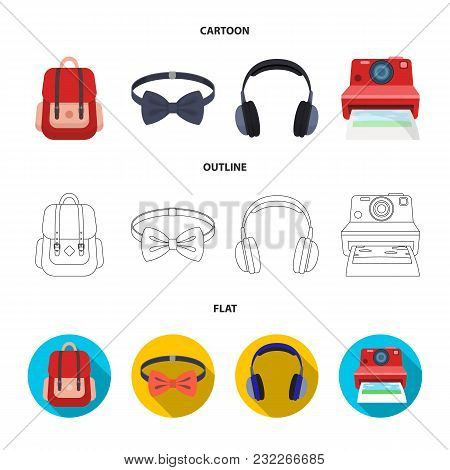 Hipster, Fashion, Style, Subculture .hipster Style Set Collection Icons In Cartoon, Outline, Flat St