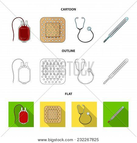 Package With Donor Blood And Other Equipment.medicine Set Collection Icons In Cartoon, Outline, Flat