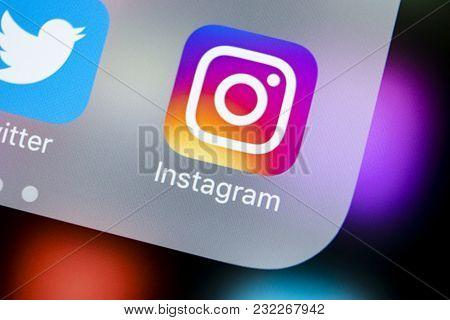 Sankt-petersburg, Russia, March 21, 2018: Instagram Application Icon On Apple Iphonex Smartphone Scr