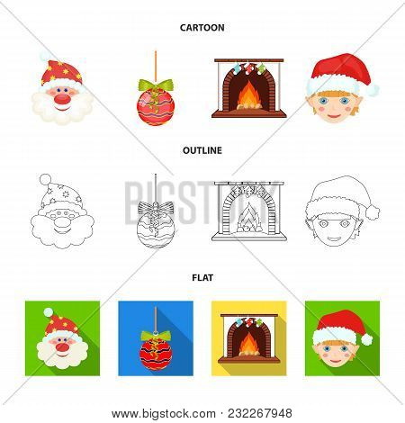 Santa Claus, Dwarf, Fireplace And Decoration Cartoon, Outline, Flat Icons In Set Collection For Desi