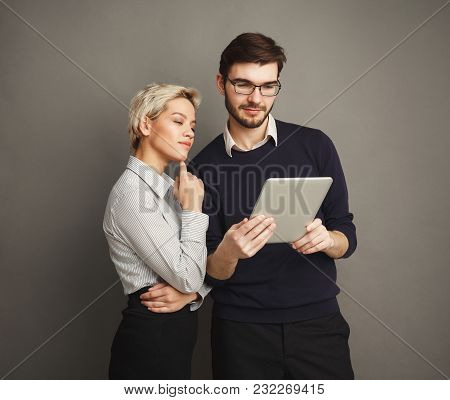 Happy Couple In Formal Clothes Shopping Online, Making Order With Digital Tablet, Copy Space