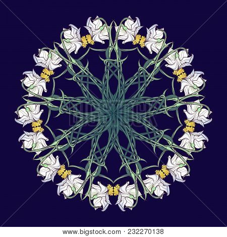 Spring Flowers. Daffodil Flowers Interlaced Into An Intricate Circular Ornament On A Dark Blue Backg
