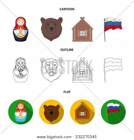 Russia, Country, Nation, Matryoshka .russia Country Set Collection Icons In Cartoon, Outline, Flat S