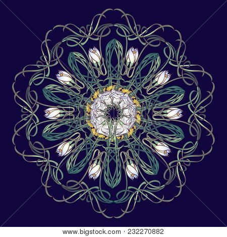Spring Flowers. Daffodil And Snowdrop Flowers Interlaced Into An Intricate Circular Ornament On A Da