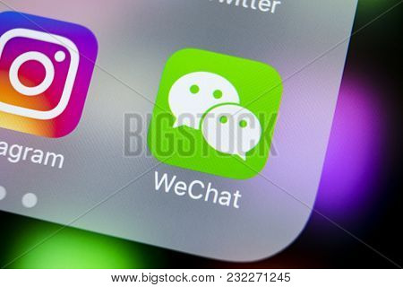 Sankt-petersburg, Russia, March 21, 2018: Wechat Messenger Application Icon On Apple Iphone X Smartp