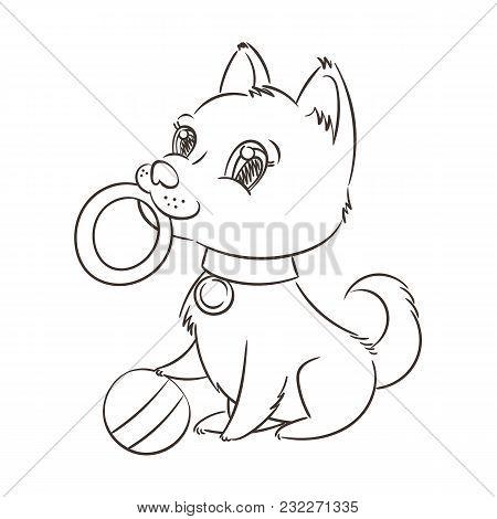 Happy Golden Cartoon Puppy. Cute Little Dog Wearing Collar. Vector Illustration.