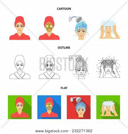 Hands, Hygiene, Cosmetology And Other  Icon In Cartoon, Outline, Flat Style.bath, Clothes, Means Ico