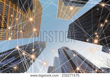 Digital Network Connection Lines Of Architectures, Skyscrapers In Chicago City With Blue Sky, Illino