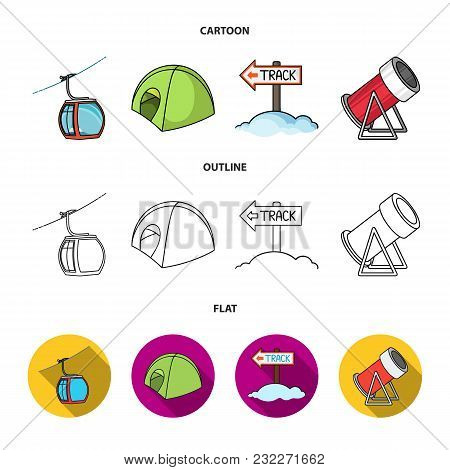 Funicular, Tent, Road Sign, Snow Cannon. Ski Resort Set Collection Icons In Cartoon, Outline, Flat S