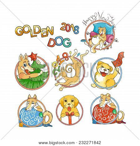 Yellow Dog For New Year 2018, Cute Symbol Of Horoscope. Cute Puppy In Cartoon Doodle Style. Vector I