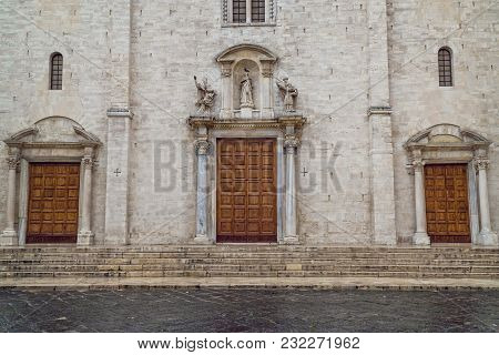 Three Massive Doors On The Facade Of A Monument In Bari Italy