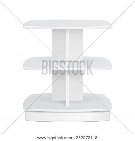 Square Rounded POS POI Cardboard Floor Display Rack For Supermarket Blank Empty Displays. Products Mock Up On White Background Isolated. Product Advertising. Vector EPS10 poster