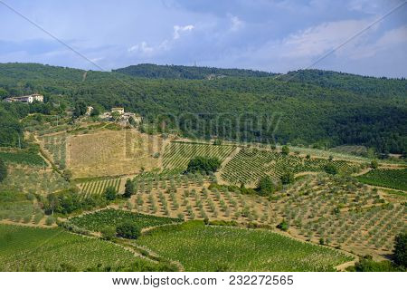Typical Rural Landscape In The Region Of Chianti, In Tuscany, Italy, Along The Road From Castellina