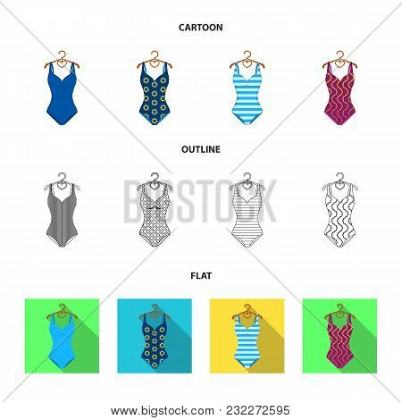 Different Kinds Of Swimsuits. Swimsuitsset Collection Icons In Cartoon, Outline, Flat Style Vector S