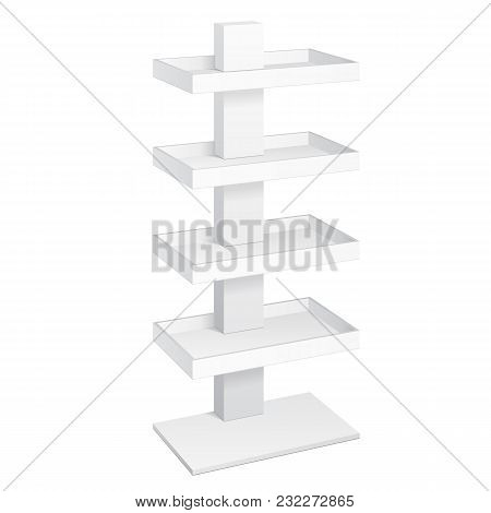 Retail Shelves Floor Display Rack For Supermarket Blank Empty Displays With Banner Products Mock Up. 3D On White Background Isolated. Ready For Your Design. Product Advertising. Vector EPS10 poster