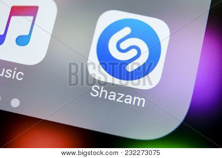 Sankt-petersburg, Russia, March 21, 2018: Shazam Application Icon On Apple Iphone X Screen Close-up.