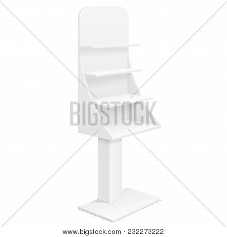 Tabletop Stand, Cardboard Floor Display Rack For Supermarket Blank Empty Displays With Shelves Products Mock Up On White Background Isolated. Ready For Your Design. Product Advertising. Vector EPS10 poster
