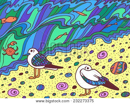 Cartoon Doodle Artwork With Seagulls, Fishes And Sea Waves. Vector Illustration.