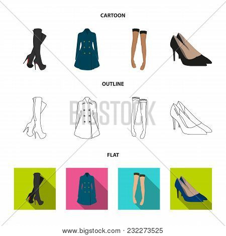 Women High Boots, Coats On Buttons, Stockings With A Rubber Band With A Pattern, High-heeled Shoes.