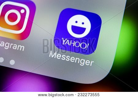 Sankt-petersburg, Russia, March 21, 2018: Yahoo Messenger Application Icon On Apple Iphone X Smartph