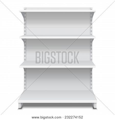 Blank Empty Showcase Display With Retail Shelves. 3d. Front View. Mock Up, Template. Illustration Is