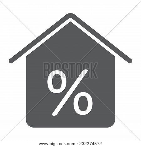 Real Estate Business Glyph Icon, Real Estate And Home, Home Percent Sign Vector Graphics, A Solid Pa