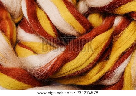 Bright Colored Merino Wool For Felting And Needlework, Hobby. The Stripes Of White, Yellow And Coppe