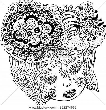 Fairy Tale Surreal Girl Portrait. Doodle Woman S Head With Hair