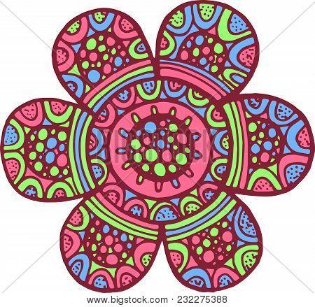 Colorful Mandala Flower. Doodle Cartoon Artwork. Vector Illustration