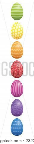 Easter Eggs. Vertical Lined Up With Different Colors And Patterns. Rainbow Colored Three-dimensional