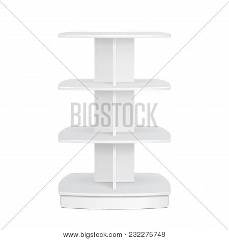 Square Rounded POS POI Cardboard Floor Display Rack For Supermarket Blank Empty Displays. Products Mock Up On White Background Isolated. Ready For Your Design. Product Advertising. Vector EPS10 poster