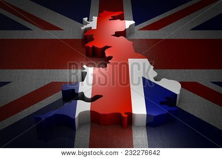 Volumetric Map Of The Great Britain On The Flag. 3d Rendering.