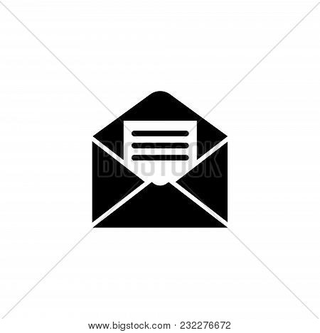 Open Mail. Flat Vector Icon. Simple Black Symbol On White Background