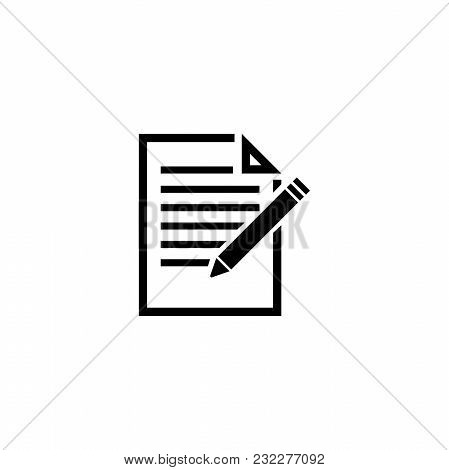 Document With Pencil. Flat Vector Icon. Simple Black Symbol On White Background