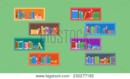 Different Books On The Bookshelves. Isolated On A Green Background. Flat Style. Vector Illustration.
