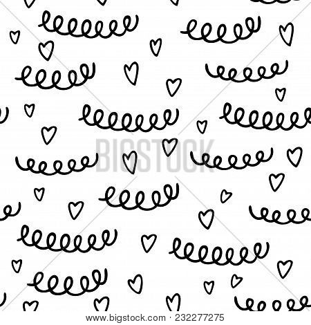 Seamless Pattern With Hand Drawn Heart And Abstract Elements. Black And White Pattern In Line Style,