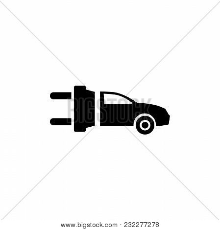 Eco Electric Car. Flat Vector Icon. Simple Black Symbol On White Background