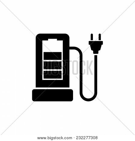 Charging Station For Electric Car. Flat Vector Icon. Simple Black Symbol On White Background