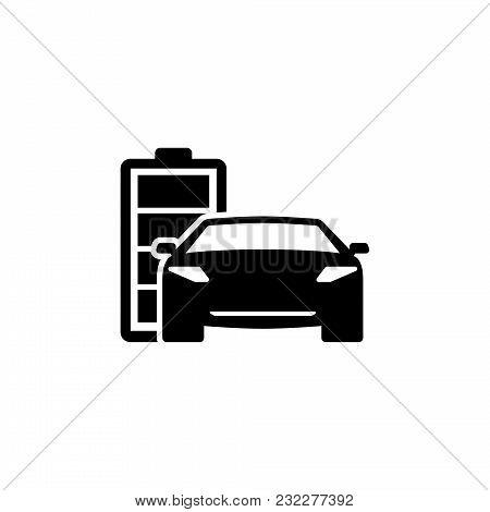 Hybrid Car. Flat Vector Icon. Simple Black Symbol On White Background