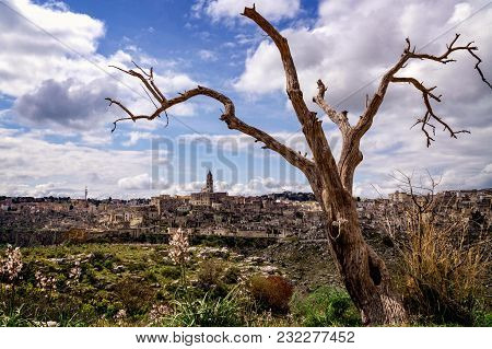 Beautiful Panorama Of The City Of Matera In Southern Italy, A World Heritage Site With Magnificent M