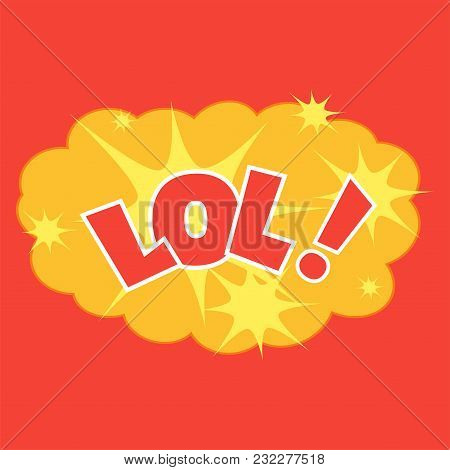 Comic Explosion Cloud Isolated On A Red Background. Speech Phrase Lol. Caricature Sound Effect. Vect