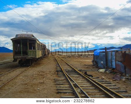 Avaroa Train Station Train Traveling Between Bolivia And Chile South America