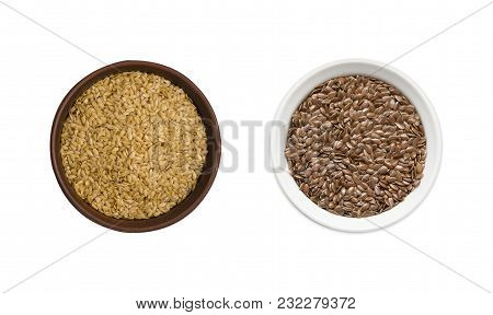 Golden And Brown Seeds Of Flax On White Background. Top View. Golden And Brown Seeds Of Flax In A Bo