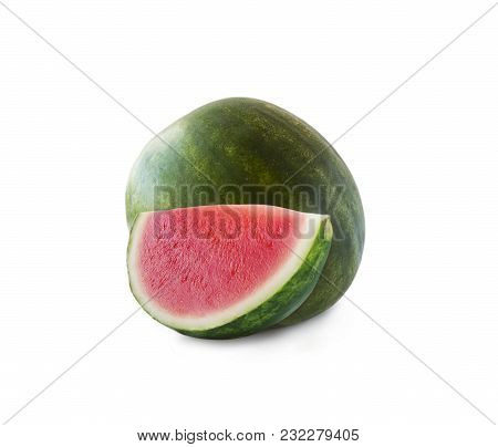 Watermelon And Slice Isolated On White Background. Sweet And Juicy Fruit With Copy Space For Text. R