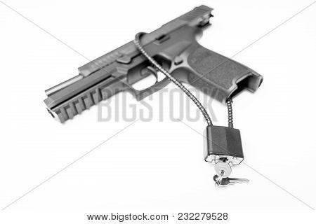 Locked Disarmed Secured Handgun White Background