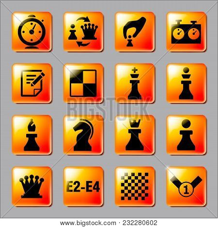 Chess Icons On The Orange Buttons. Vector Illustration
