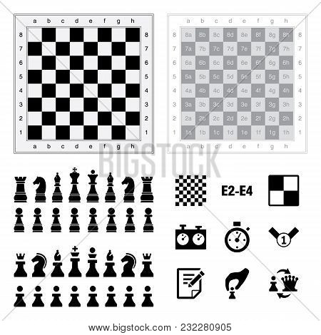 Chess Icons On White Background. Vector Illustration