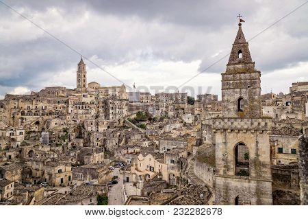 Matera Italy And Its Beautiful Architecture Of Stone Monuments And Houses Cut In Rock, A Unesco Worl