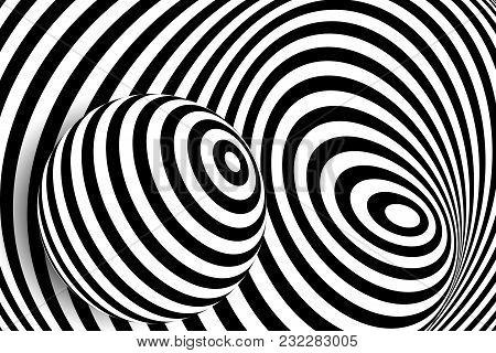 Black White 3d Line Distortion Illusion Design. Vector Monochrome Background. Geometric Stripped Pat
